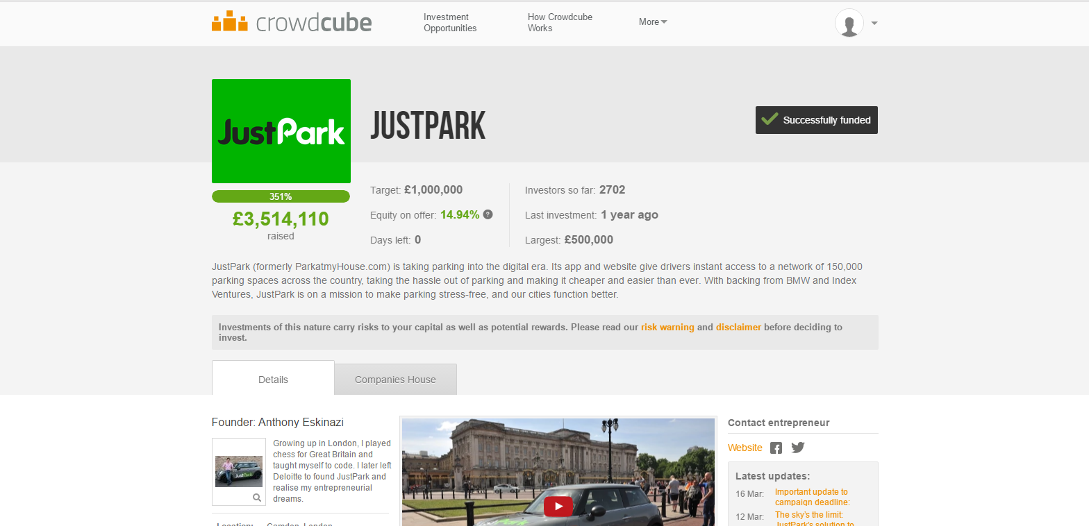 JustPark crowdcube WE the CROWD
