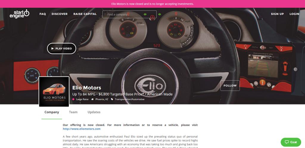 Elio Motors startengine WE the CROWD